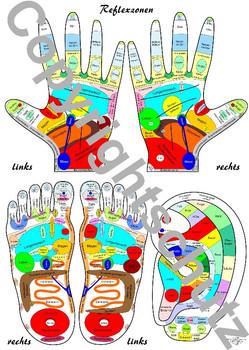 Reflexzonenübersicht - Füße, Hände und Ohr DIN A4 Karte - Tanja Aeckersberg
