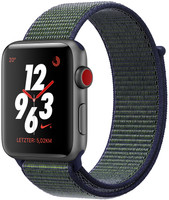 Apple Watch Nike+ Series 3 42 mm en aluminium gris au bracelet am Nike Sport Loop midnight black [Wifi + Cellular]