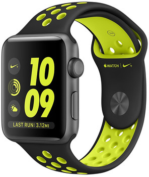 Apple Watch Nike+ Series 2 42 mm spacegrijs aluminium met Nike sportbandje zwartvolt [wifi]