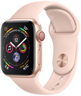 Apple Watch Series 4 40mm caja de aluminio en oro y correa deportiva rosa arena [Wifi + Cellular]