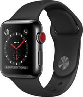 Apple Watch Series 3 38mm cassa in acciaio inossidabile nero siderale con cinturino Sport nero [Wifi + Cellular]