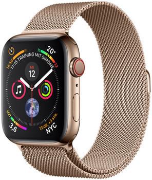Apple Watch Serie 4 44 mm alloggiamento in acciaio inossidabile oro am Bracciale milanese oro [Wi-Fi + Cellular]