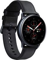 Samsung Galaxy Watch Active2 40 mm Cassa in acciaio inossidabile nero con cinturino in pelle nero [Wi-Fi + 4G]