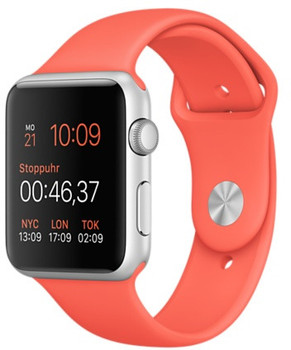 Apple Watch Sport 42mm argento con cinturino Sport pesca [Wifi]