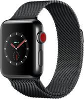 Apple Watch Series 3 38 mm edelstaal zwart met Milanees bandje zwart [wifi + cellular]