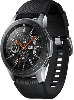 Samsung Galaxy Watch 46 mm argento am Cinghia in silicone nero [Wi-Fi]
