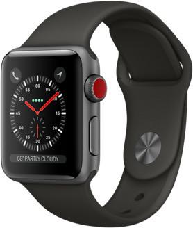 Apple Watch Series 3 38mm Caja de aluminio en gris espacial con correa deportiva gris [Wifi + Cellular]