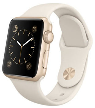 Apple Watch Sport 38mm oro con cinturino Sport bianco panna [Wifi]