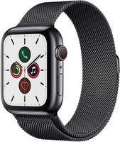 Apple Watch Series 5 44 mm Edelstahlgehäuse space schwarz am Milanaise Armband space schwarz [Wi-Fi + Cellular]