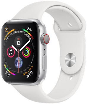 Apple Watch Series 4 44 mm aluminium zilver met sportarmband [wifi + cellular] wit
