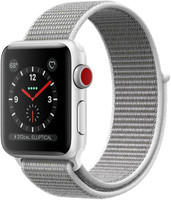 Apple Watch Series 3 38 mm aluminium zilver met geweven sportbandje grijs [wifi + cellular]