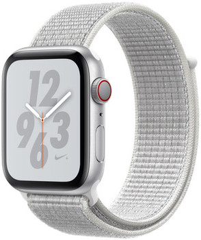 Apple Watch Nike+ Serie 4 44 mm alloggiamento in alluminio argento con Loop sportivo Nike summit bianco [Wi-Fi + Cellular]