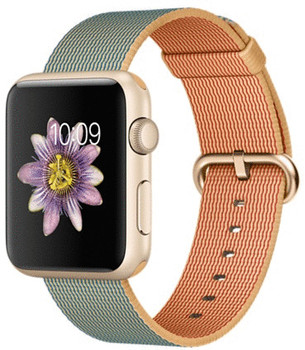 Apple Watch Sport 42mm oro con correa de nailon trenzado oro azul eléctrico [Wifi]