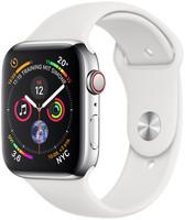 Apple Watch Series 4 44 mm edelstaal zilver met sportarmband [wifi + cellular] wit