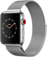 Apple Watch Series 3 42 mm edelstaal zilver met Milanees bandje zilver [wifi + cellular]