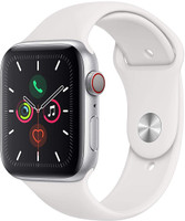 Apple Watch Series 5 44 mm Aluminiumgehäuse silber am Sportarmband weiß [Wi-Fi + Cellular]