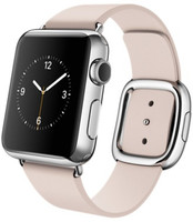 Apple Watch 38 mm zilver met leren bandje en moderne gesp Large zachtroze [wifi]