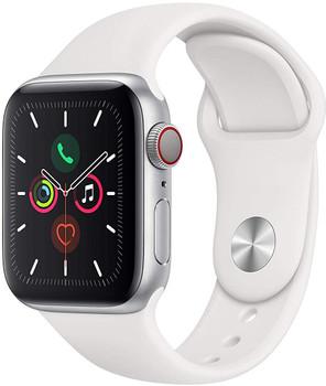 Apple Watch Series 5 40 mm Aluminiumgehäuse silber am Sportarmband weiß [Wi-Fi + Cellular]