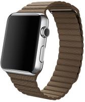 Apple Watch 42 mm en argent avec Bracelet Boucle Classique Medium marron clair [Wi-Fi]