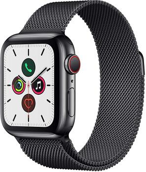 Apple Watch Series 5 40 mm Edelstahlgehäuse space schwarz am Milanaise Armband space schwarz [Wi-Fi + Cellular]