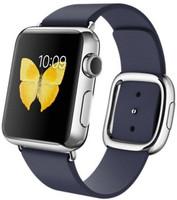 Apple Watch 38 mm en argent avec Bracelet Boucle Moderne Small bleu nuit [Wi-Fi]