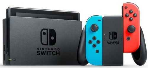 nintendo switch 32 gb inkl controller rot blau schwarz. Black Bedroom Furniture Sets. Home Design Ideas