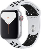 Apple Watch Nike+ Series 5 44 mm Aluminiumgehäuse silber am Nike Sportarmband pure platinum/schwarz [Wi-Fi + Cellular]