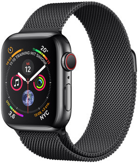 Apple Watch Serie 4 40 mm alloggiamento in acciaio inossidabile space nero am Bracciale milanese space nero [Wi-Fi + Cellular]