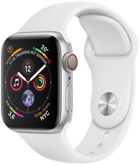 Apple Watch Series 4 40 mm aluminium zilver met sportarmband [wifi + cellular] wit
