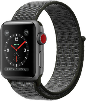 Apple Watch Series 3 38mm cassa in alluminio grigio siderale con cinturino Loop Sport oliva scuro [Wifi + Cellular]