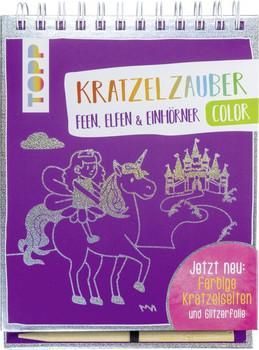 Kratzelzauber Color Feen, Elfen & Einhörner. Jetzt neu: Farbige Kratzelseiten und Glitzerfolie - frechverlag  [Gebundene Ausgabe]