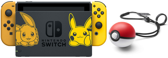 Nintendo Switch 32 GB [Pokémon Let's Go Pikachu/Evoli edition incl. controller goud en Pokéball Plus, zonder spel] zwart