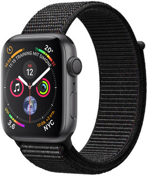 Apple Watch Serie 4 44 mm alloggiamento in alluminio space grigio con Loop sportivo nero [Wi-Fi]