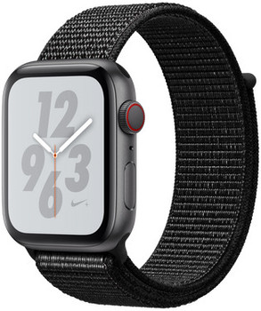 Apple Watch Nike+ Serie 4 44 mm alloggiamento in alluminio space grigio con Loop sportivo Nike nero [Wi-Fi + Cellular]