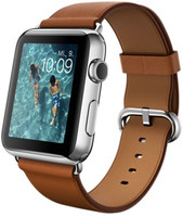 Apple Watch 42 mm zilver met leren bandje en klassieke gesp [wifi]