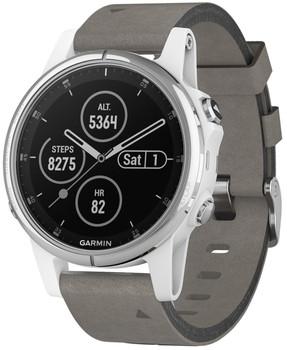 Garmin Fenix 5S Plus 42 mm wit met suede armband grijs [wifi, Saphir editie]