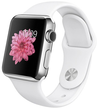 Apple Watch 38mm argento con cinturino Sport bianca [Wifi]