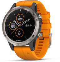 Garmin Fenix 5 Plus 47 mm titane au bracelet en silicone orange [Wifi, Saphir Edition]