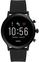 Fossil The Carlyle HR 44 mm zwart met silicoon armband zwart [wifi, 5e generation]