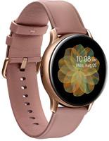 Samsung Galaxy Watch Active2 40 mm Cassa in acciaio inossidabile color oro con cinturino in pelle rosa [Wi-Fi + 4G]