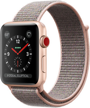 Apple Watch Series 3 42 mm aluminium goud met geweven sportbandje roze [wifi + cellular]