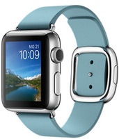 Apple Watch 38 mm grise bracelet en cuir taille L bleu glace [Wi-Fi]