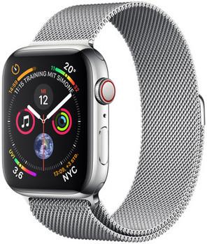 Apple Watch Serie 4 44 mm alloggiamento in acciaio inossidabile argento am Bracciale milanese argento [Wi-Fi + Cellular]