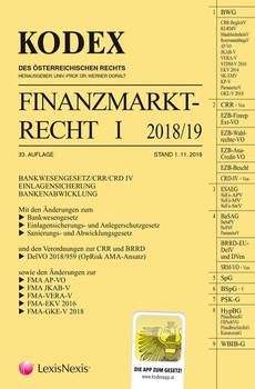 KODEX Finanzmarktrecht Band I 2018/19. BWG/CRR/CRD/ESAEG/BaSAG [Taschenbuch]