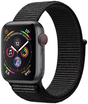 Apple Watch Series 4 40 mm aluminium spacegrijs met geweven sportbandje [wifi + cellular] zwart