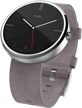 Motorola Moto 360 46mm argento con cinturino in pelle grigio [Wifi]