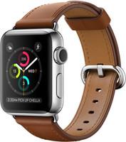 Apple Watch Series 2 38 mm zilver aluminium met leren bandje zadelbruin [wifi]