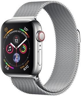 Apple Watch Series 4 40 mm edelstaal zilver met milanese armband [wifi + cellular] zilver