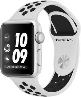 Apple Watch Nike+ Series 3 38mm Caja de aluminio en plata con correa Nike Sport platino puro / negro [Wifi]