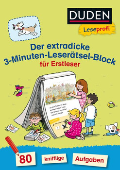 Duden Leseprofi – Der extradicke 3-Minuten-Leserätsel-Block für Erstleser - Susanna Moll  [Taschenbuch]